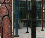 2008 Alessandria Biblioteca Comunale Installazione Pilastri del Cielo Cartapesta cm. h 350